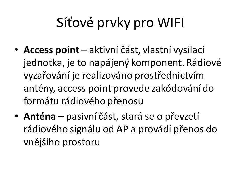 Síťové prvky pro WIFI Access point – aktivní část, vlastní vysílací jednotka, je to napájený komponent. Rádiové vyzařování je realizováno prostřednict