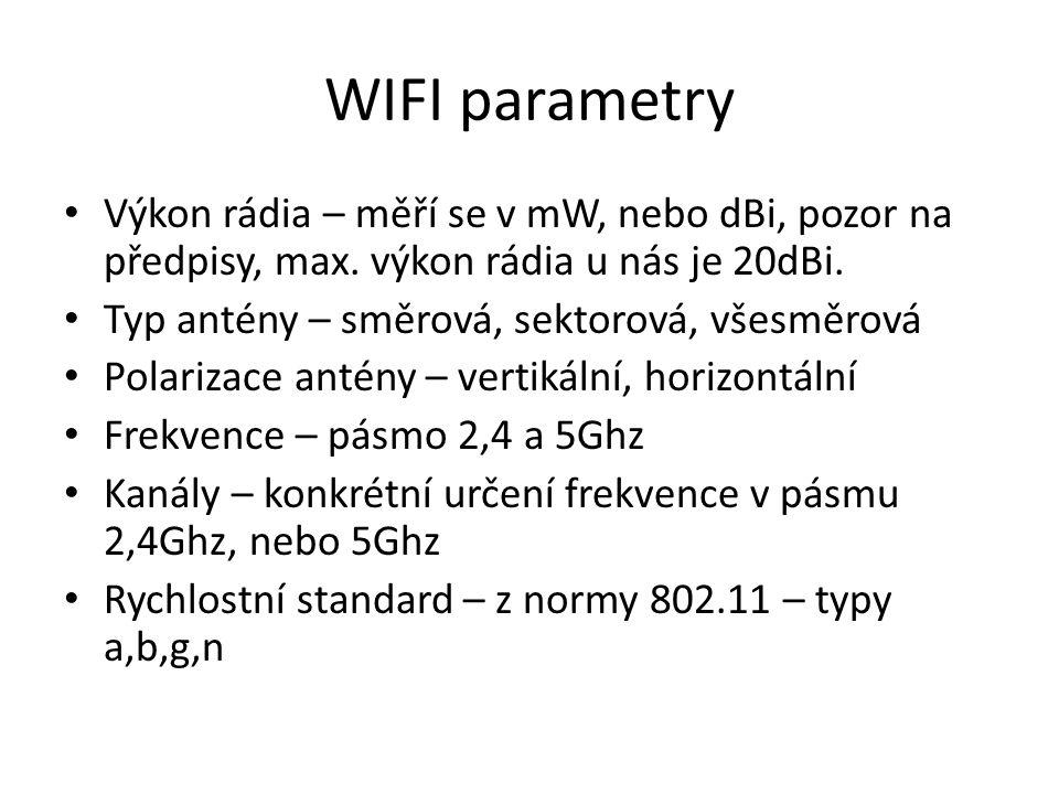 WIFI parametry Výkon rádia – měří se v mW, nebo dBi, pozor na předpisy, max. výkon rádia u nás je 20dBi. Typ antény – směrová, sektorová, všesměrová P