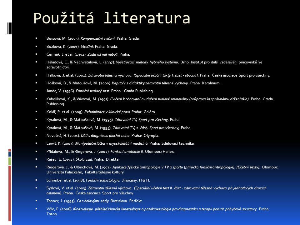 Použitá literatura  Bursová, M. (2005). Kompenzační cvičení. Praha: Grada.  Buzková, K. (2006). Strečink Praha: Grada.  Čermák, J. et al. (1992). Z