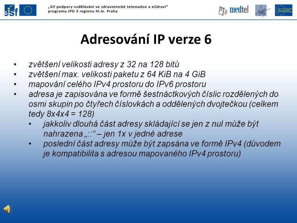 Adresování IP verze 6 zvětšení velikosti adresy z 32 na 128 bitů zvětšení max. velikosti paketu z 64 KiB na 4 GiB mapování celého IPv4 prostoru do IPv