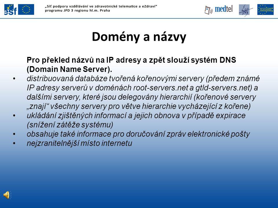 Domény a názvy Pro překled názvů na IP adresy a zpět slouží systém DNS (Domain Name Server). distribuovaná databáze tvořená kořenovými servery (předem