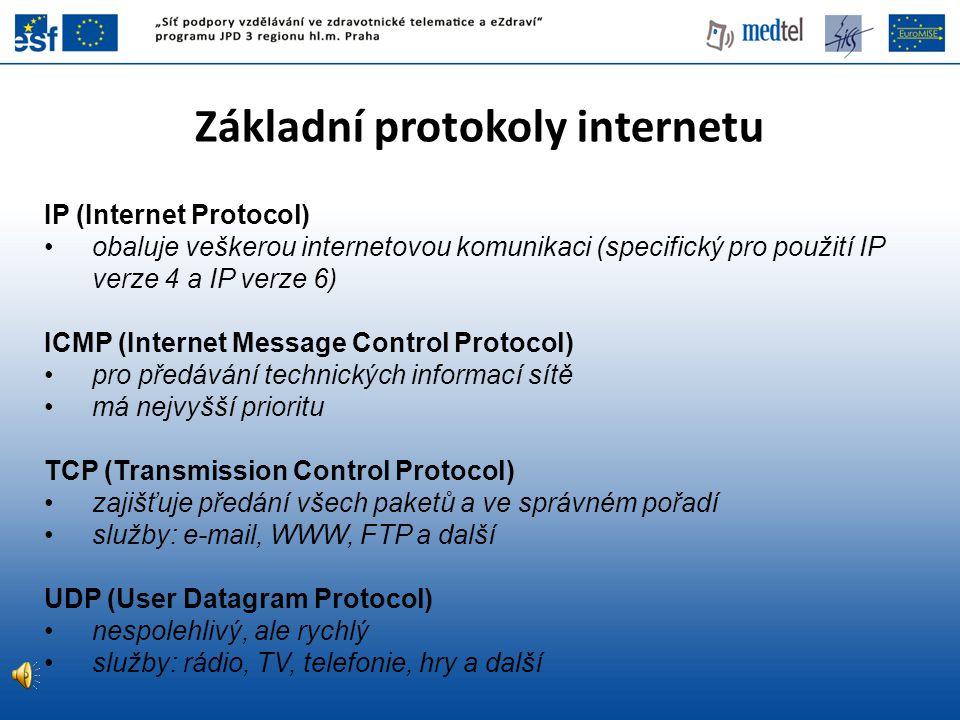 Základní protokoly internetu IP (Internet Protocol) obaluje veškerou internetovou komunikaci (specifický pro použití IP verze 4 a IP verze 6) ICMP (In