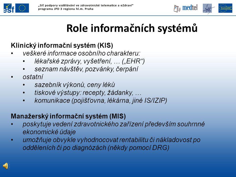 """Role informačních systémů Klinický informační systém (KIS) veškeré informace osobního charakteru: lékařské zprávy, vyšetření, … (""""EHR"""") seznam návštěv"""
