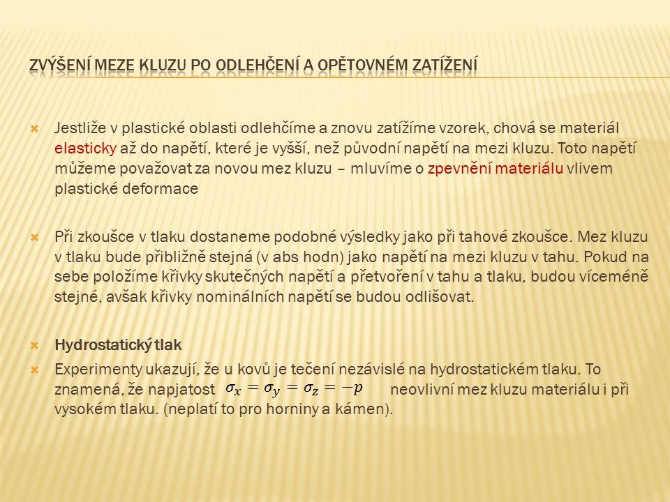 1) Sílu F, která působí na zkušební vzorek, normalizujeme vzhledem k původní ploše průřezu zkušebního vzorku S 0, to je nominální neboli inženýrské napětí  2) Sílu F podělíme okamžitou plochou průřezu S, dostaneme tzv.