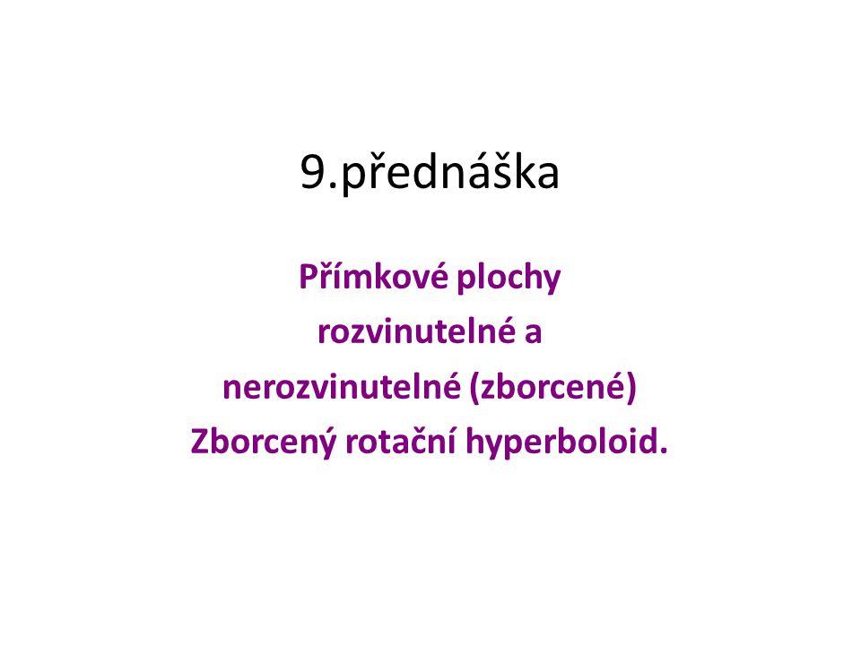 9.přednáška Přímkové plochy rozvinutelné a nerozvinutelné (zborcené) Zborcený rotační hyperboloid.
