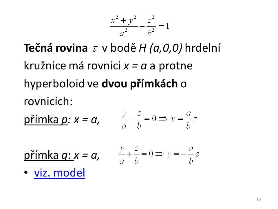 Tečná rovina  v bodě H (a,0,0) hrdelní kružnice má rovnici x = a a protne hyperboloid ve dvou přímkách o rovnicích: přímka p: x = a, přímka q: x = a, viz.