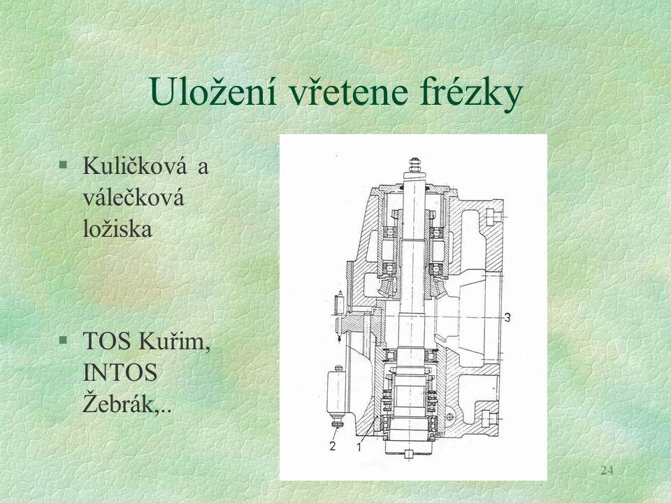 24 Uložení vřetene frézky §Kuličková a válečková ložiska §TOS Kuřim, INTOS Žebrák,..