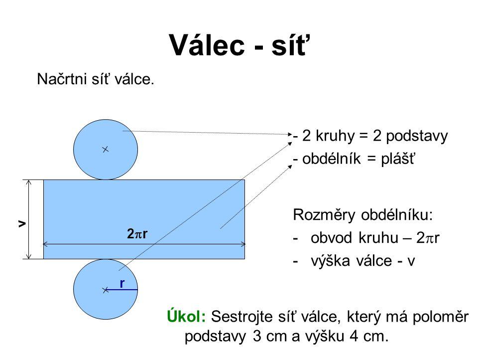 Válec - síť Načrtni síť válce. - 2 kruhy = 2 podstavy - obdélník = plášť Rozměry obdélníku: -obvod kruhu – 2  r -výška válce - v r 2r2r v Úkol: Ses