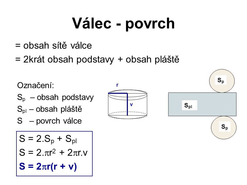 Válec - povrch = obsah sítě válce = 2krát obsah podstavy + obsah pláště Označení: S p – obsah podstavy S pl – obsah pláště S – povrch válce S = 2.S p