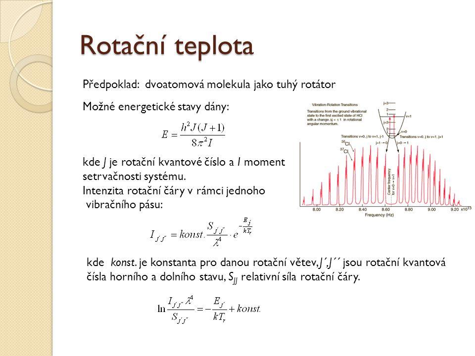 Rotační teplota Předpoklad: dvoatomová molekula jako tuhý rotátor Možné energetické stavy dány: kde J je rotační kvantové číslo a I moment setrvačnosti systému.
