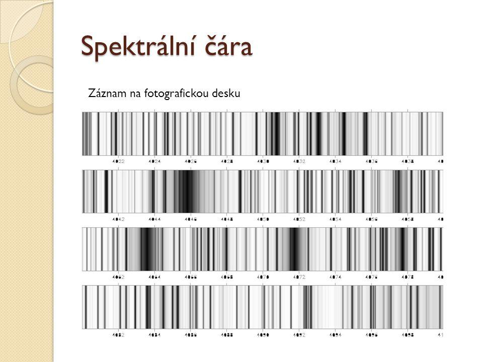 Spektrální čára Záznam na fotografickou desku