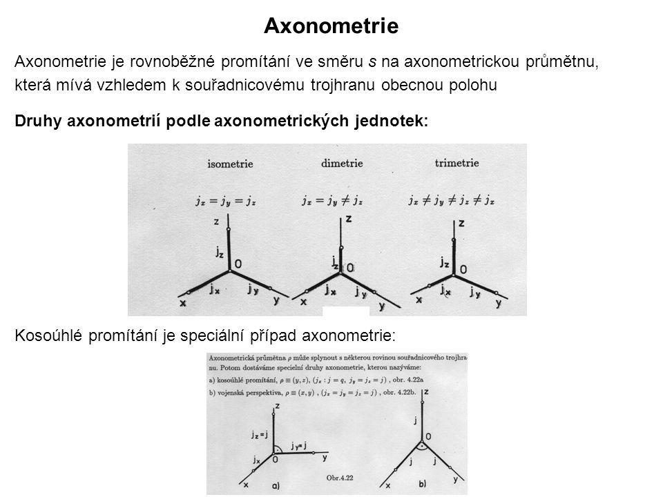 Axonometrie Axonometrie je rovnoběžné promítání ve směru s na axonometrickou průmětnu, která mívá vzhledem k souřadnicovému trojhranu obecnou polohu Druhy axonometrií podle axonometrických jednotek: Kosoúhlé promítání je speciální případ axonometrie: