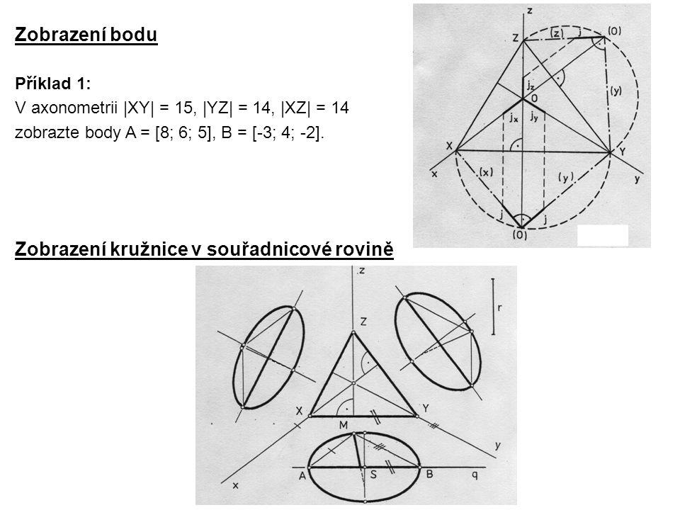 Zobrazení bodu Zobrazení kružnice v souřadnicové rovině Příklad 1: V axonometrii |XY| = 15, |YZ| = 14, |XZ| = 14 zobrazte body A = [8; 6; 5], B = [-3;