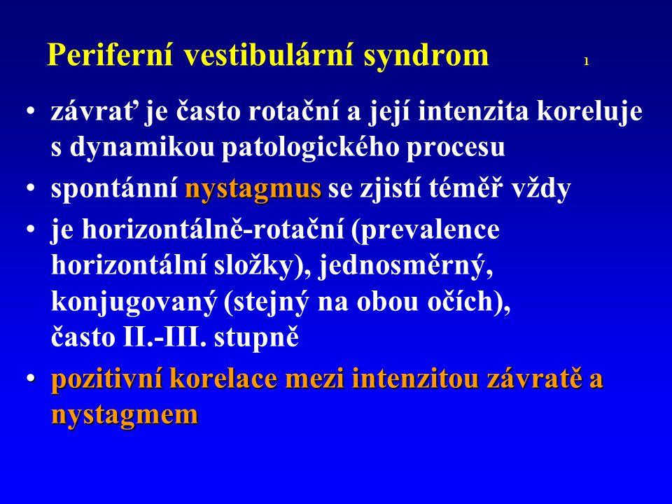 Periferní vestibulární syndrom 1 závrať je často rotační a její intenzita koreluje s dynamikou patologického procesu nystagmusspontánní nystagmus se z