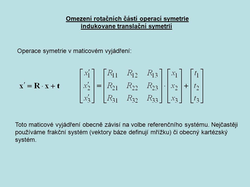 Omezení rotačních částí operací symetrie indukovane translační symetrií Operace symetrie v maticovém vyjádření: Toto maticové vyjádření obecně závisí na volbe referenčního systému.