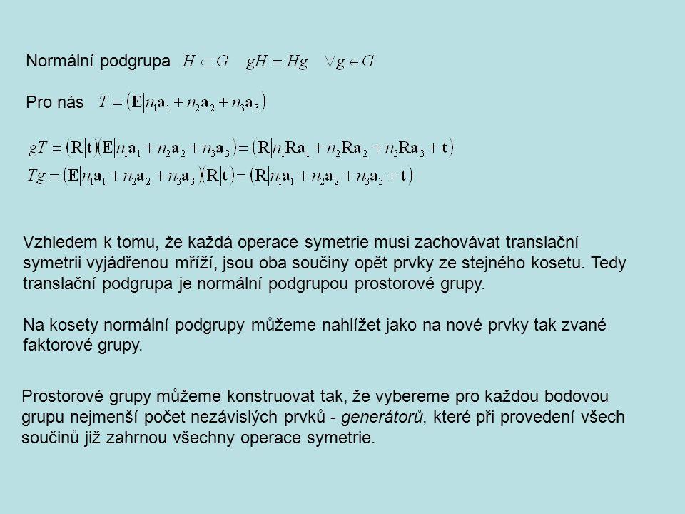 Vzhledem k tomu, že každá operace symetrie musi zachovávat translační symetrii vyjádřenou mříží, jsou oba součiny opět prvky ze stejného kosetu. Tedy