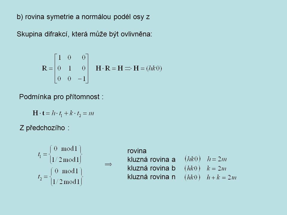 b) rovina symetrie a normálou podél osy z Skupina difrakcí, která může být ovlivněna: Podmínka pro přítomnost : Z předchozího :  rovina kluzná rovina