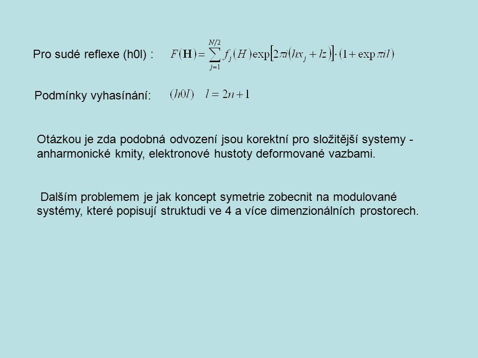 Pro sudé reflexe (h0l) : Podmínky vyhasínání: Otázkou je zda podobná odvození jsou korektní pro složitější systemy - anharmonické kmity, elektronové h