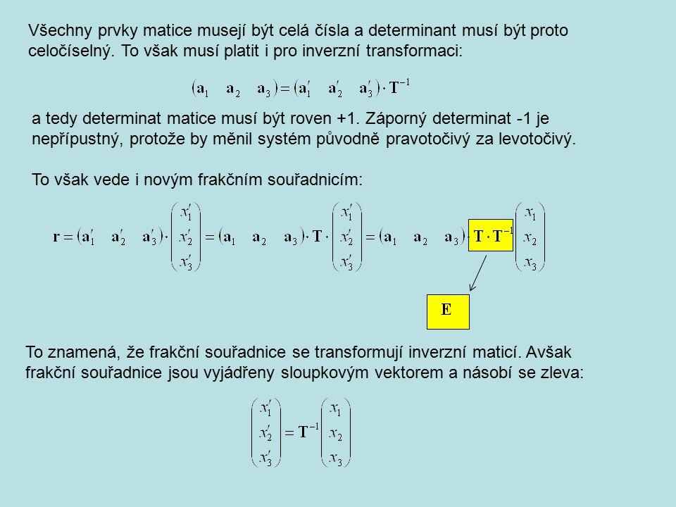 Všechny prvky matice musejí být celá čísla a determinant musí být proto celočíselný. To však musí platit i pro inverzní transformaci: a tedy determina