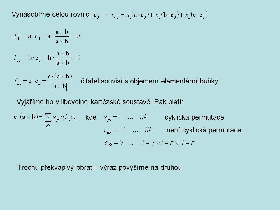 čitatel souvisí s objemem elementární buňky Vyjáříme ho v libovolné kartézské soustavě. Pak platí: kde cyklická permutace není cyklická permutace Troc