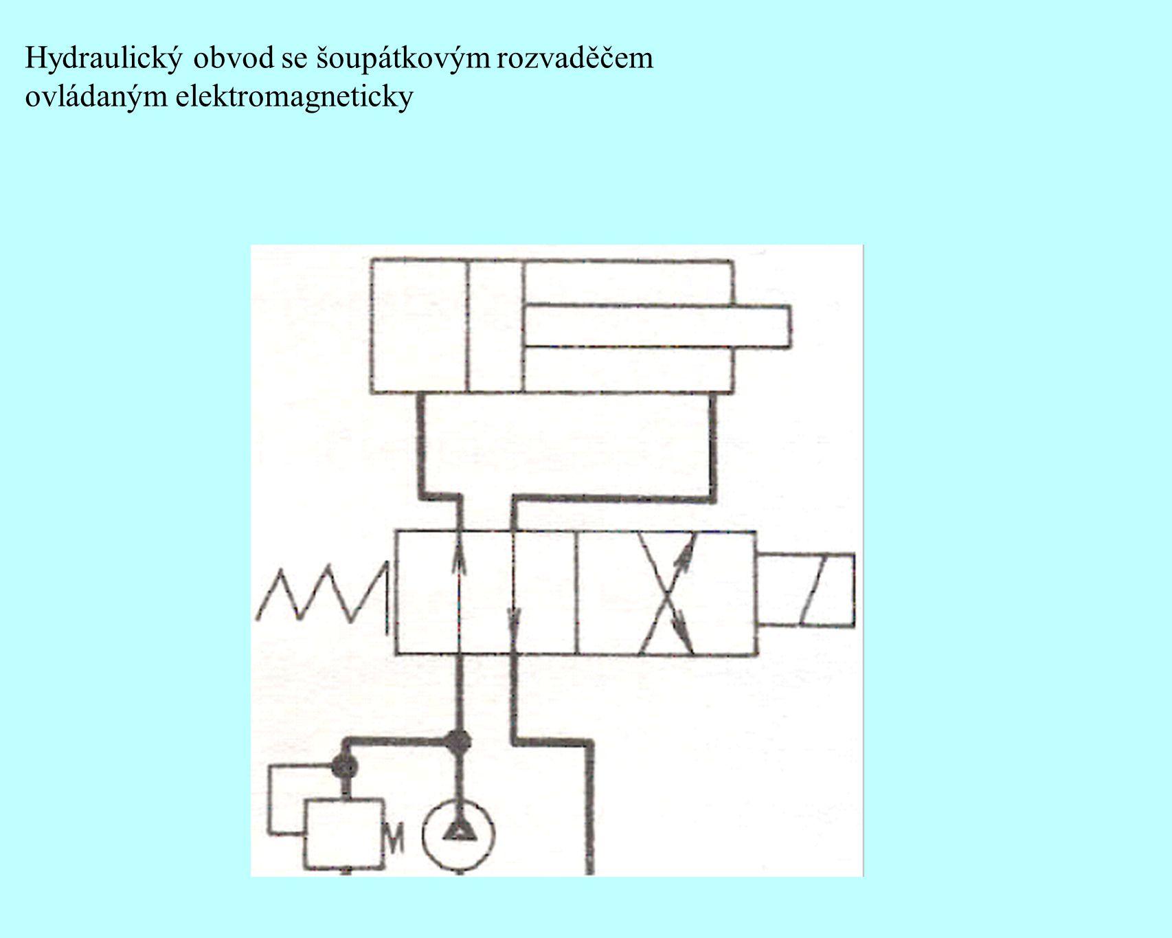 Hydraulický obvod se šoupátkovým rozvaděčem ovládaným elektromagneticky