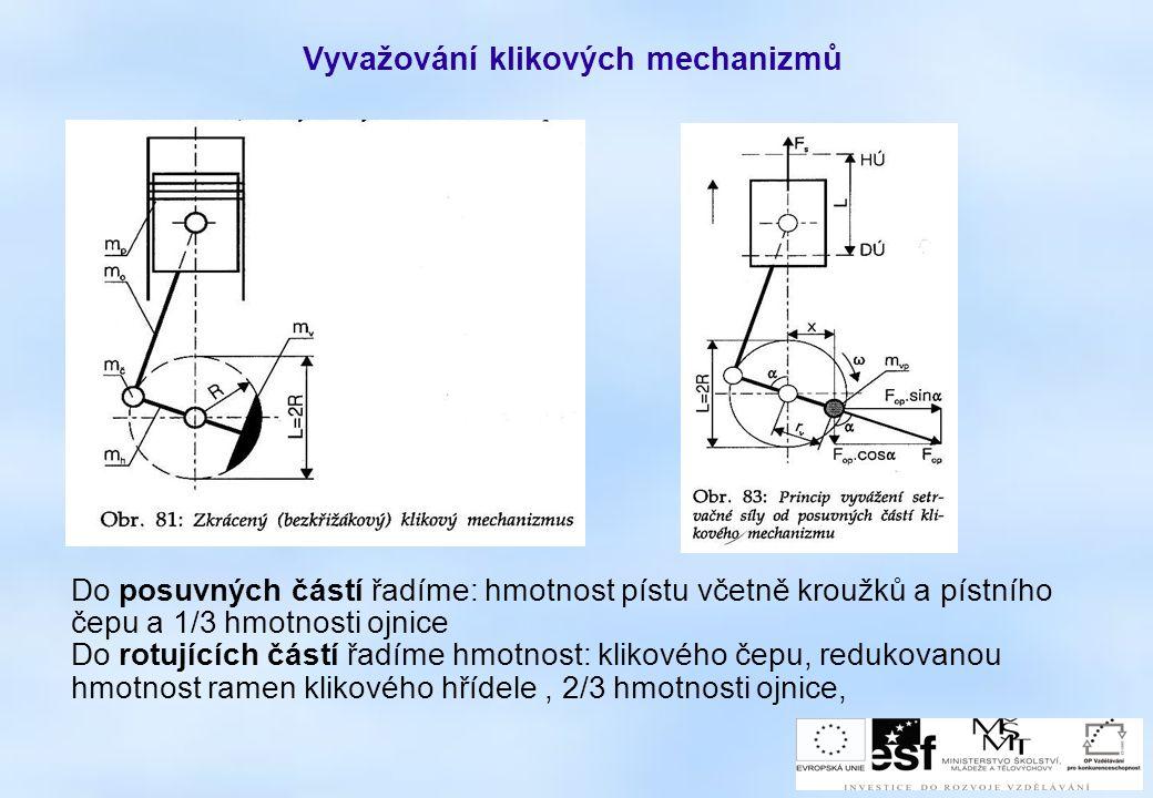 Vyvažování klikových mechanizmů Do posuvných částí řadíme: hmotnost pístu včetně kroužků a pístního čepu a 1/3 hmotnosti ojnice Do rotujících částí řa