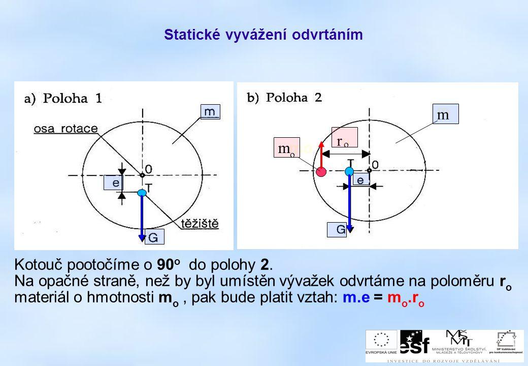 Statické vyvážení odvrtáním Kotouč pootočíme o 90 o do polohy 2. Na opačné straně, než by byl umístěn vývažek odvrtáme na poloměru r o materiál o hmot