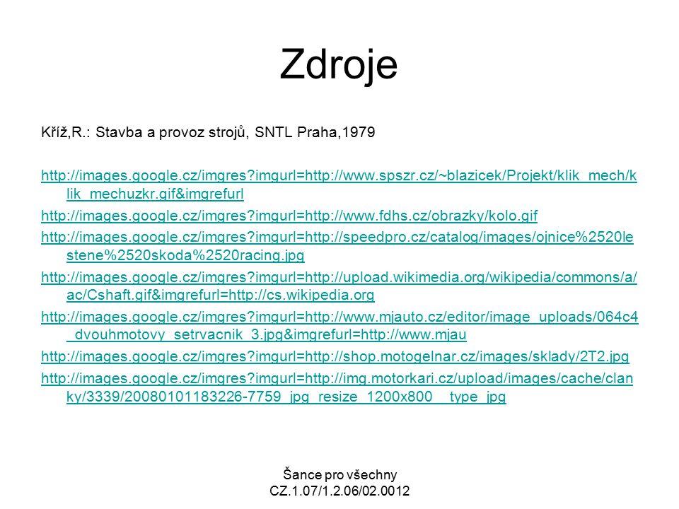 Šance pro všechny CZ.1.07/1.2.06/02.0012 Zdroje Kříž,R.: Stavba a provoz strojů, SNTL Praha,1979 http://images.google.cz/imgres?imgurl=http://www.spsz