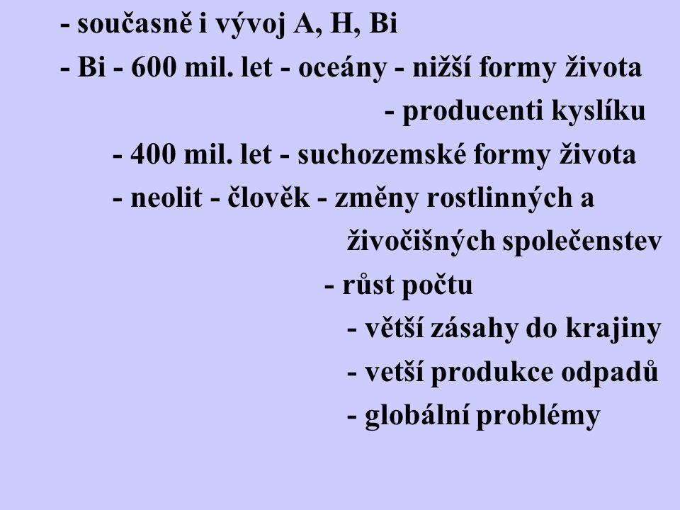 - současně i vývoj A, H, Bi - Bi - 600 mil.