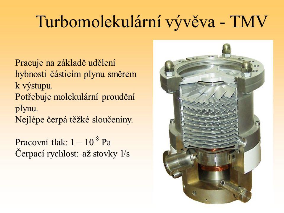 Turbomolekulární vývěva - TMV Pracuje na základě udělení hybnosti částicím plynu směrem k výstupu. Potřebuje molekulární proudění plynu. Nejlépe čerpá