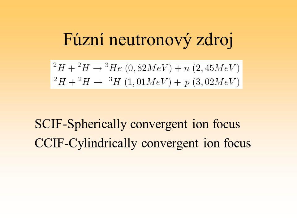 Fúzní neutronový zdroj SCIF-Spherically convergent ion focus CCIF-Cylindrically convergent ion focus