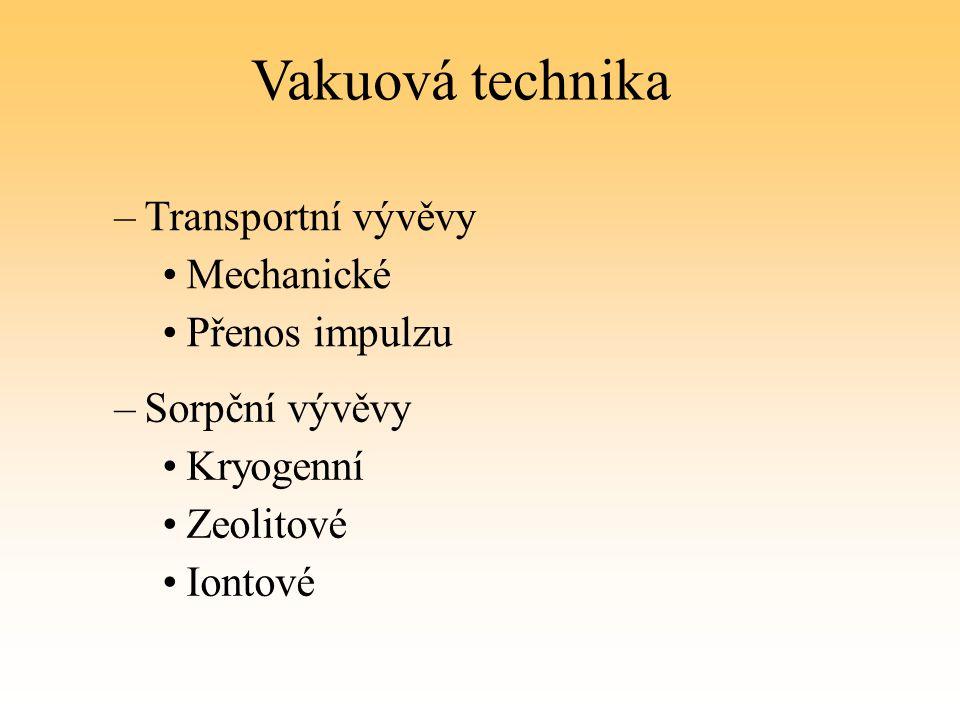Vakuová technika –Transportní vývěvy Mechanické Přenos impulzu –Sorpční vývěvy Kryogenní Zeolitové Iontové