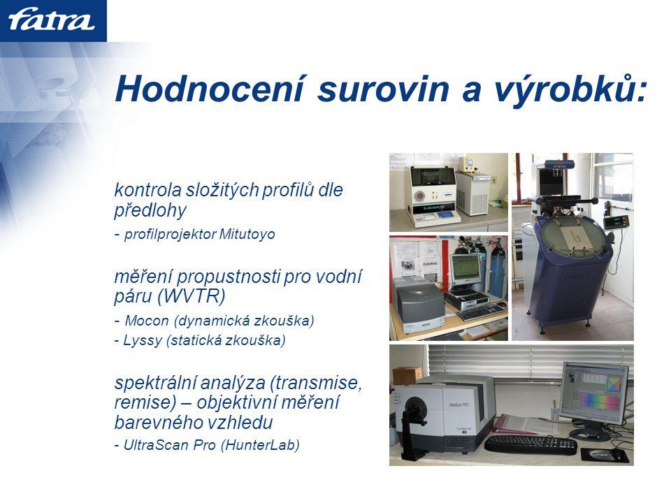 Hodnocení surovin a výrobků: kontrola složitých profilů dle předlohy - profilprojektor Mitutoyo měření propustnosti pro vodní páru (WVTR) - Mocon (dynamická zkouška) - Lyssy (statická zkouška) spektrální analýza (transmise, remise) – objektivní měření barevného vzhledu - UltraScan Pro (HunterLab)