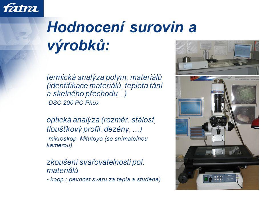 Hodnocení surovin a výrobků: termická analýza polym.