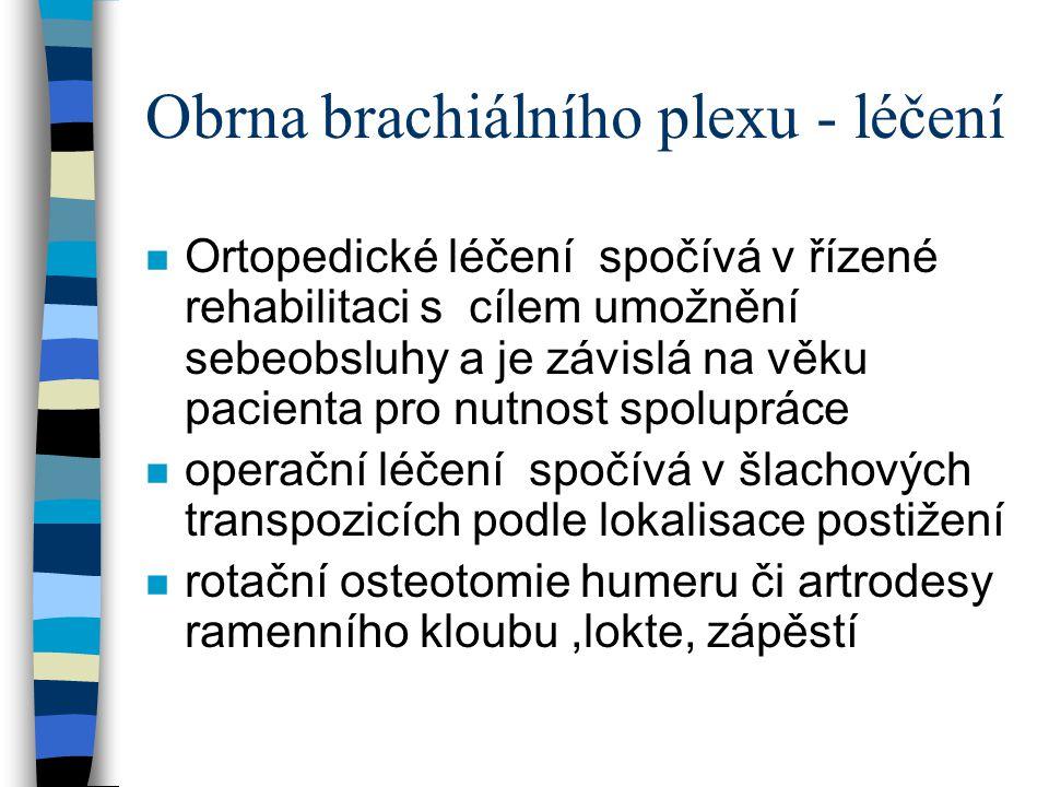 Obrna brachiálního plexu - léčení n Ortopedické léčení spočívá v řízené rehabilitaci s cílem umožnění sebeobsluhy a je závislá na věku pacienta pro nu