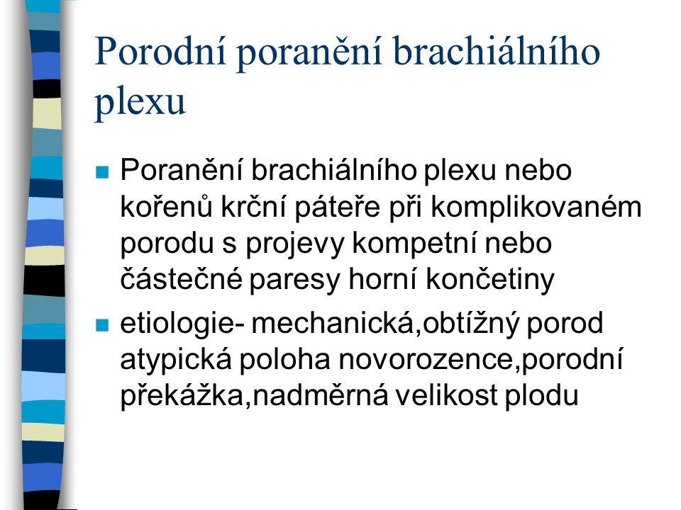 Poranění brachiálního plexu n Patofysiologie- stupně poranění n neurotmesis, axonotmesis,neuropraxis n tj škála poranění od kontuse po kompletní rupturu brachiálního plexu či vytržení kořenů míšních n obraz chabé parezy postižených sval skupin s různou tendencí k reparaci