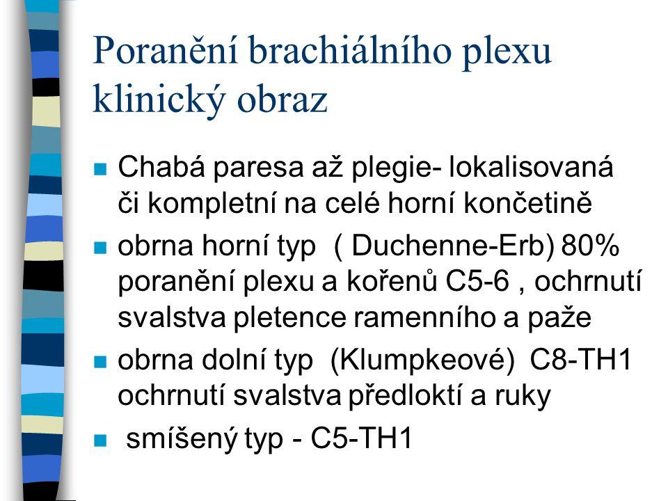 Poranění brachiální plexu n Vyšetřovací postupy- neurologické vyšetření, EMG, rtg, CT- myelogram, sonografie, MR n diferenciální diagnostika- porodní poranění klíčku, porodní poranění proximálního humeru(epifyzeolyza), akutní osteomylitida proximální metaf.