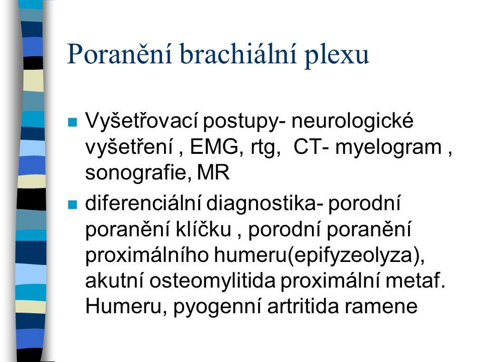 Poranění brachiální plexu n Vyšetřovací postupy- neurologické vyšetření, EMG, rtg, CT- myelogram, sonografie, MR n diferenciální diagnostika- porodní
