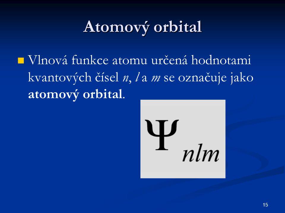 15 Atomový orbital Vlnová funkce atomu určená hodnotami kvantových čísel n, l a m se označuje jako atomový orbital.
