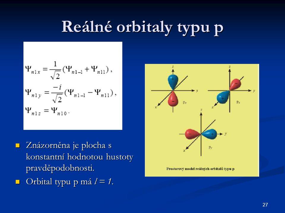 27 Reálné orbitaly typu p Znázorněna je plocha s konstantní hodnotou hustoty pravděpodobnosti. Znázorněna je plocha s konstantní hodnotou hustoty prav