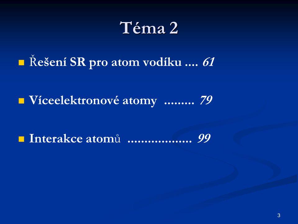 3 Téma 2 Řešení SR pro atom vodíku.... 61 Víceelektronové atomy......... 79 Interakce atomů................... 99