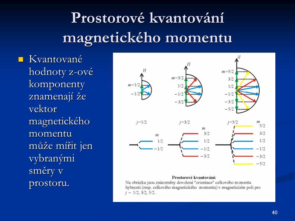 40 Prostorové kvantování magnetického momentu Kvantované hodnoty z-ové komponenty znamenají že vektor magnetického momentu může mířit jen vybranými sm