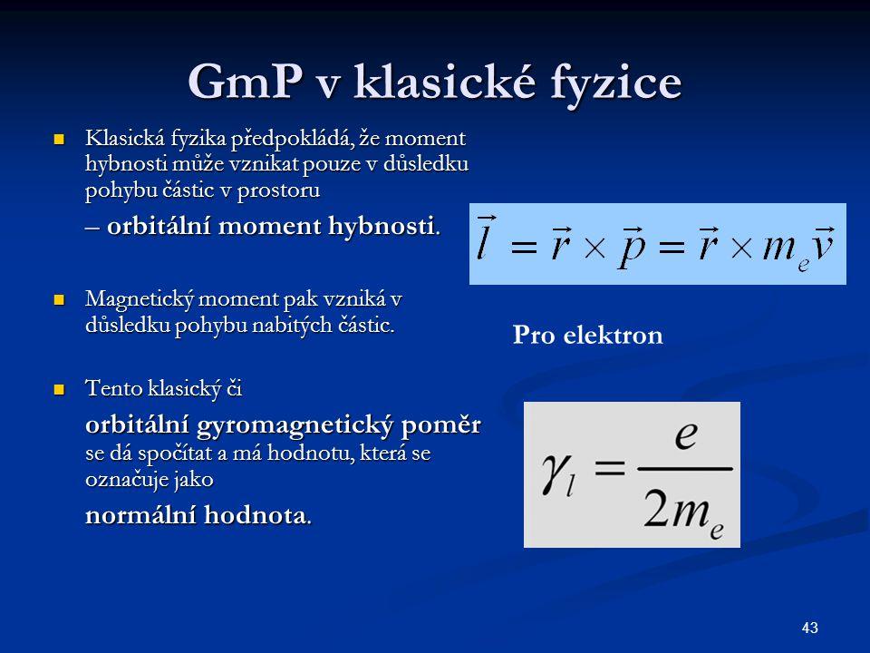 43 GmP v klasické fyzice Klasická fyzika předpokládá, že moment hybnosti může vznikat pouze v důsledku pohybu částic v prostoru Klasická fyzika předpo