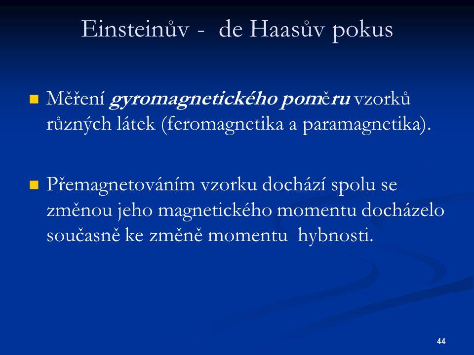 44 Einsteinův - de Haasův pokus Měření gyromagnetického poměru vzorků různých látek (feromagnetika a paramagnetika). Přemagnetováním vzorku dochází sp