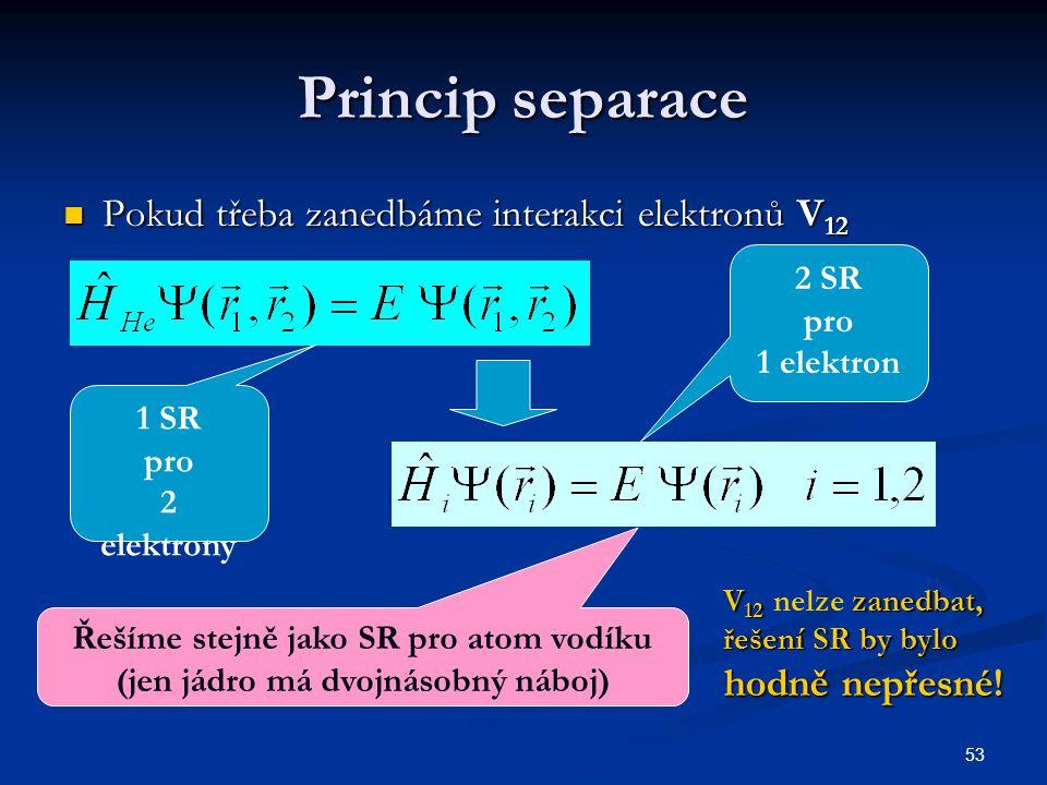 53 Princip separace Pokud třeba zanedbáme interakci elektronů V 12 Pokud třeba zanedbáme interakci elektronů V 12 1 SR pro 2 elektrony 2 SR pro 1 elek