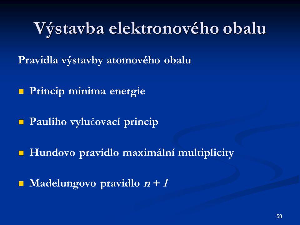 58 Výstavba elektronového obalu Pravidla výstavby atomového obalu Princip minima energie Pauliho vylučovací princip Hundovo pravidlo maximální multipl