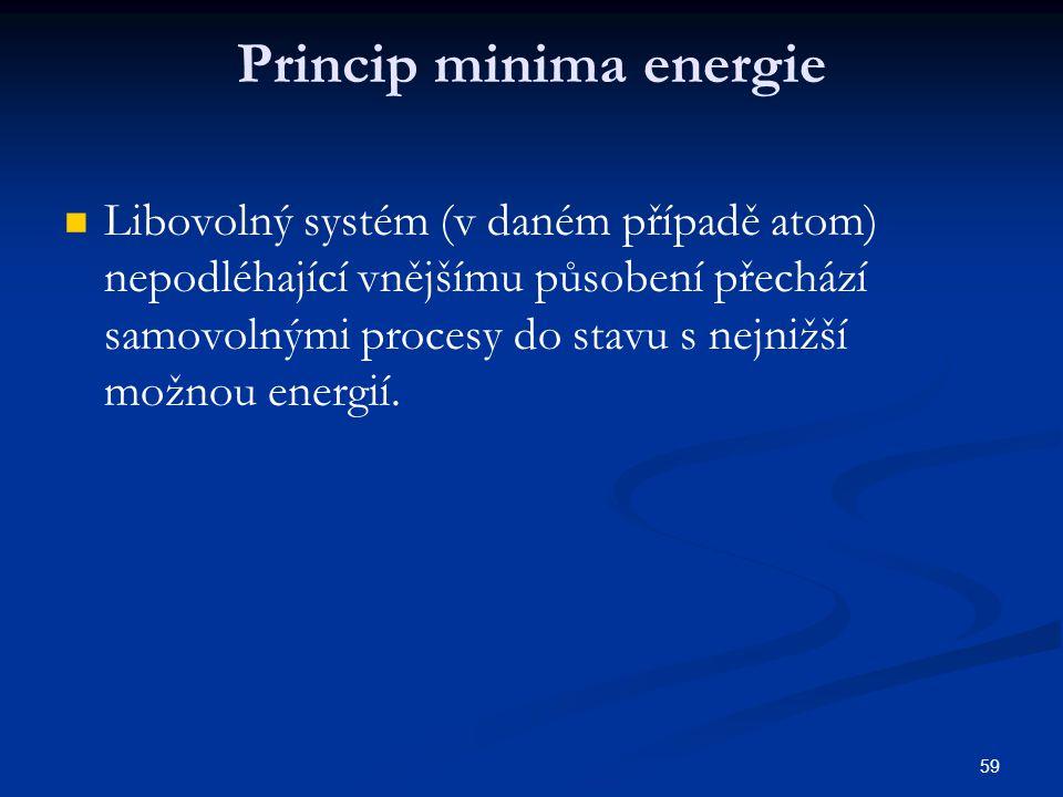 59 Princip minima energie Libovolný systém (v daném případě atom) nepodléhající vnějšímu působení přechází samovolnými procesy do stavu s nejnižší mož