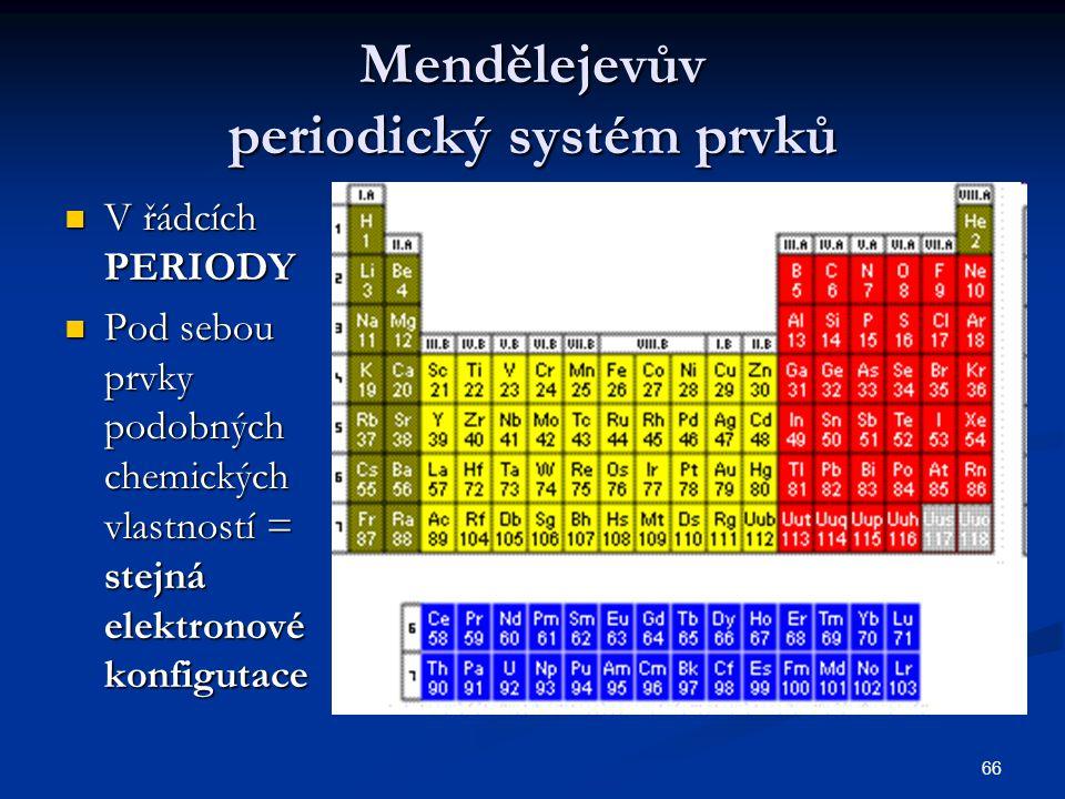 66 Mendělejevův periodický systém prvků V řádcích PERIODY V řádcích PERIODY Pod sebou prvky podobných chemických vlastností = stejná elektronové konfi