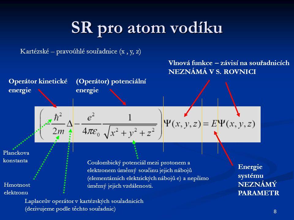 8 SR pro atom vodíku Kartézské – pravoúhlé souřadnice (x, y, z) Operátor kinetické energie (Operátor) potenciální energie Vlnová funkce – závisí na so