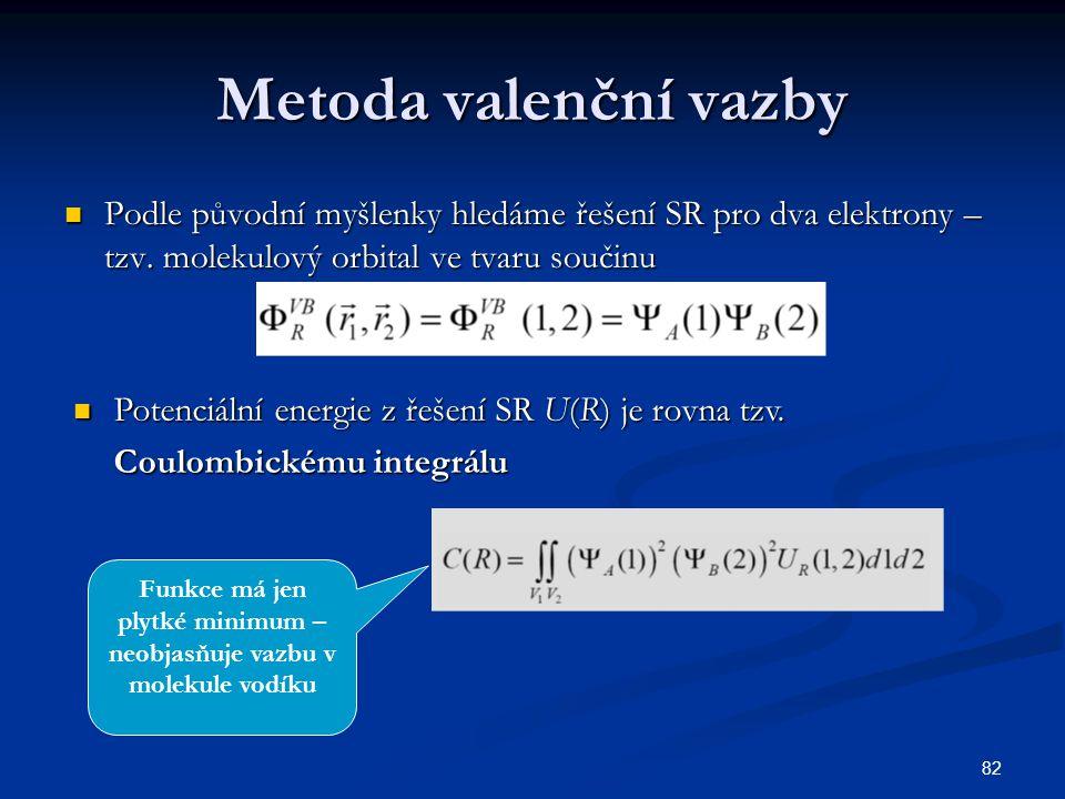 82 Metoda valenční vazby Podle původní myšlenky hledáme řešení SR pro dva elektrony – tzv. molekulový orbital ve tvaru součinu Podle původní myšlenky